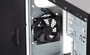 Closeup of the rear fan inside of the Rosewill FBM-01 MicroATX Mini Tower case