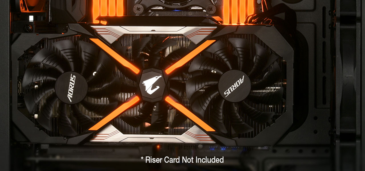 An AORUS graphics card installed inside the Rosewill RISE case. There is a disclaimer that reads: riser card not included