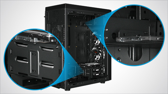 Closeup hotspots of the Rosewill RISE case's storage areas