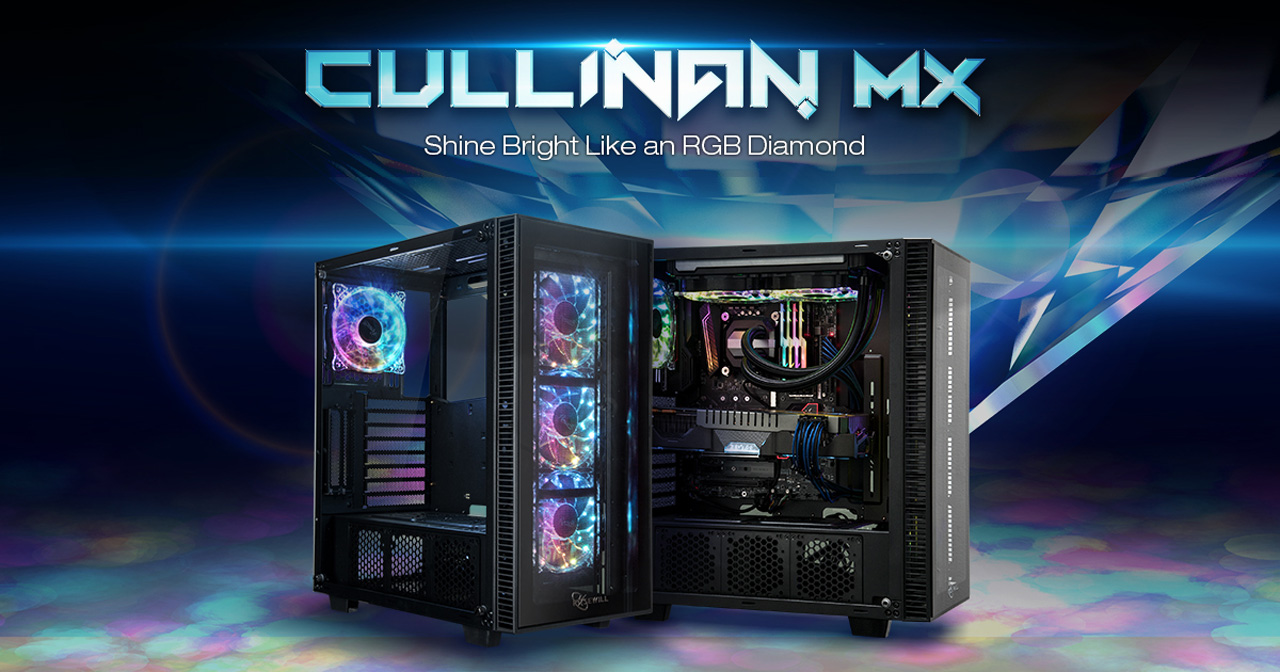Rosewill CULLINAN MX Banner showing two cases angled to the right and text that reads: Shine Bright Like an RGB Diamond