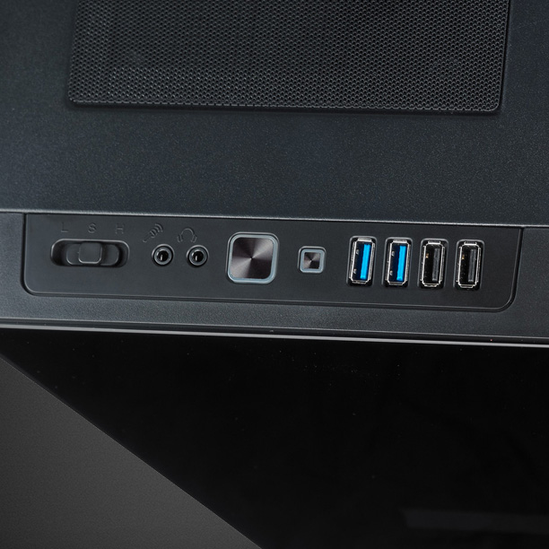 Close up of the CULLINAN MX's power switch and ports on top