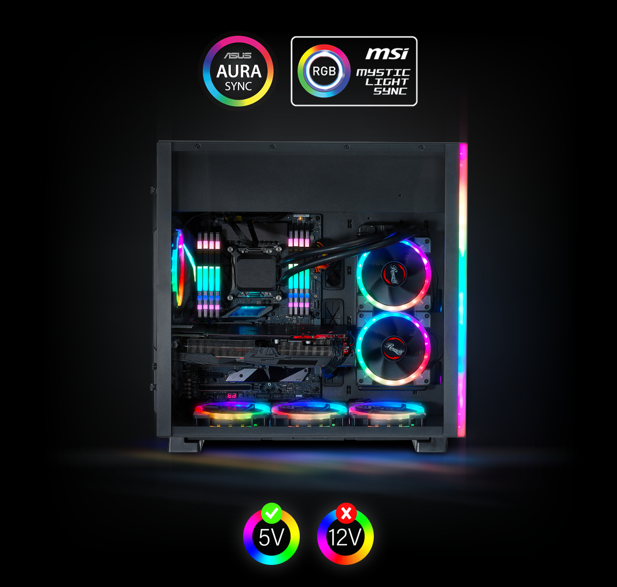 Rosewill ATX Mid Tower Gaming PC Computer Case, Aura Sync Compatible Dual  Ring RGB LED Fans, Top Mount PSU & HDD/SSD, Tempered Glass & Steel - PRISM