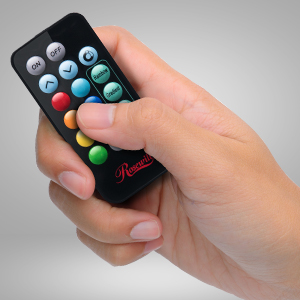 Hand Holding a Rosewill Remote
