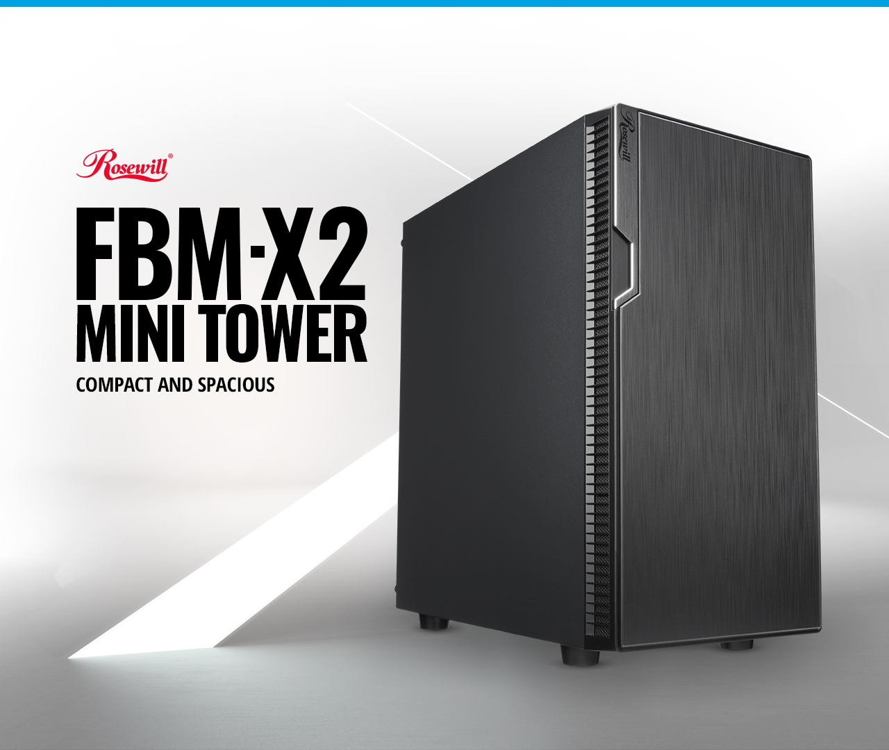Rosewill Micro ATX Mini Tower Desktop Gaming PC Computer Case with text read:FBM-X2 MINI TOWER COMAPCT AND SPACIOUS on the left.