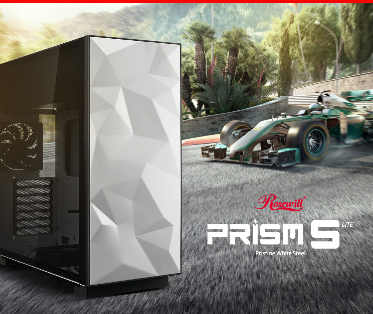 Rosewill PRISM S-LITE case angled to the right next to text that reads: Rosewill PRISM S LITE - Pristine White Steel; and a green dragster drifting down to the left through a palm-tree surrounded race track