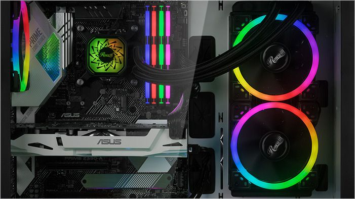 Fully stocked RGB-lit components inside the Rosewill PRISM S-LITE case