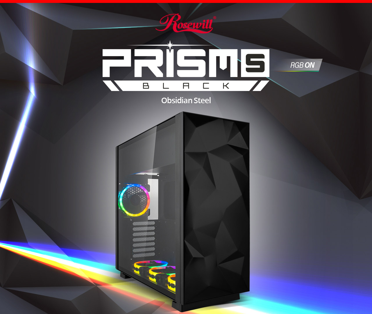 Rosewill ATX Mid Tower Gaming PC Computer Case with RGB Angled to the Right with Graphics and Text Indicating: Rosewill PRISM S RGB ON BLACK Obsidian Steel