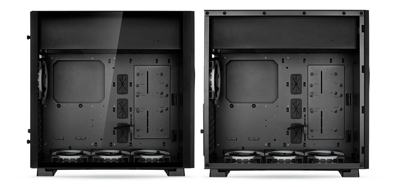 Two Rosewill ATX Mid Tower Gaming PC Computer Cases with Their Side Panels Removed