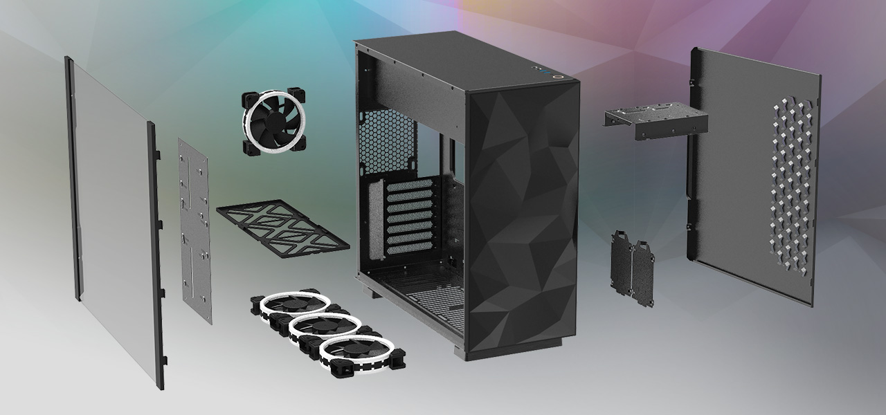 Rosewill ATX Mid Tower Gaming PC Computer Case with All Its Pieces Removed, Angled to the Right, Floating Next to Each Other