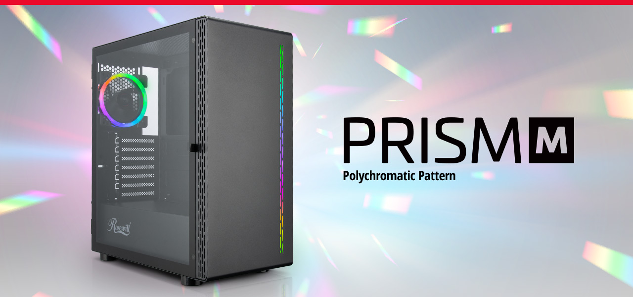 The PRISM M gaming case on the left and name PRISM M Polychromatic Pattern on the right
