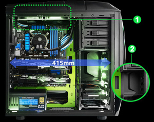 show the top room for liquid cooling solution and Modular HDD design