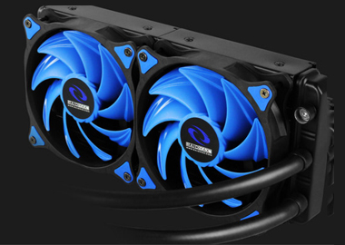 a water cooling radiator with two blue fans