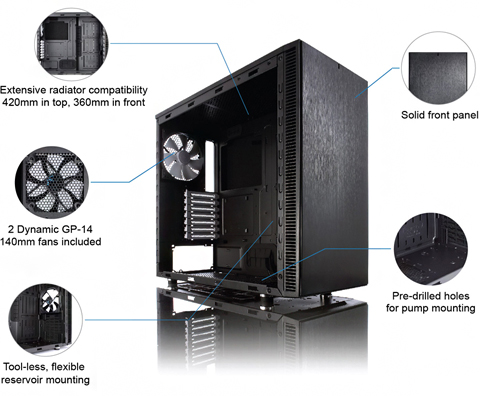 Black Fractal Design Define S FD-CA-DEF-S-BK-W w// Window Silent Computer Case