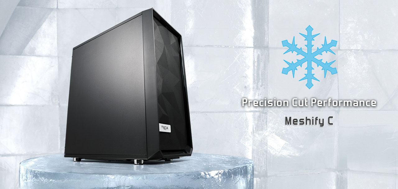 Side view of Meshify C - placed in an icy environment with snowflake markers