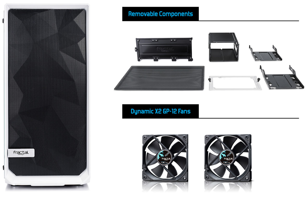 Meshify C front view and removable components and two fans