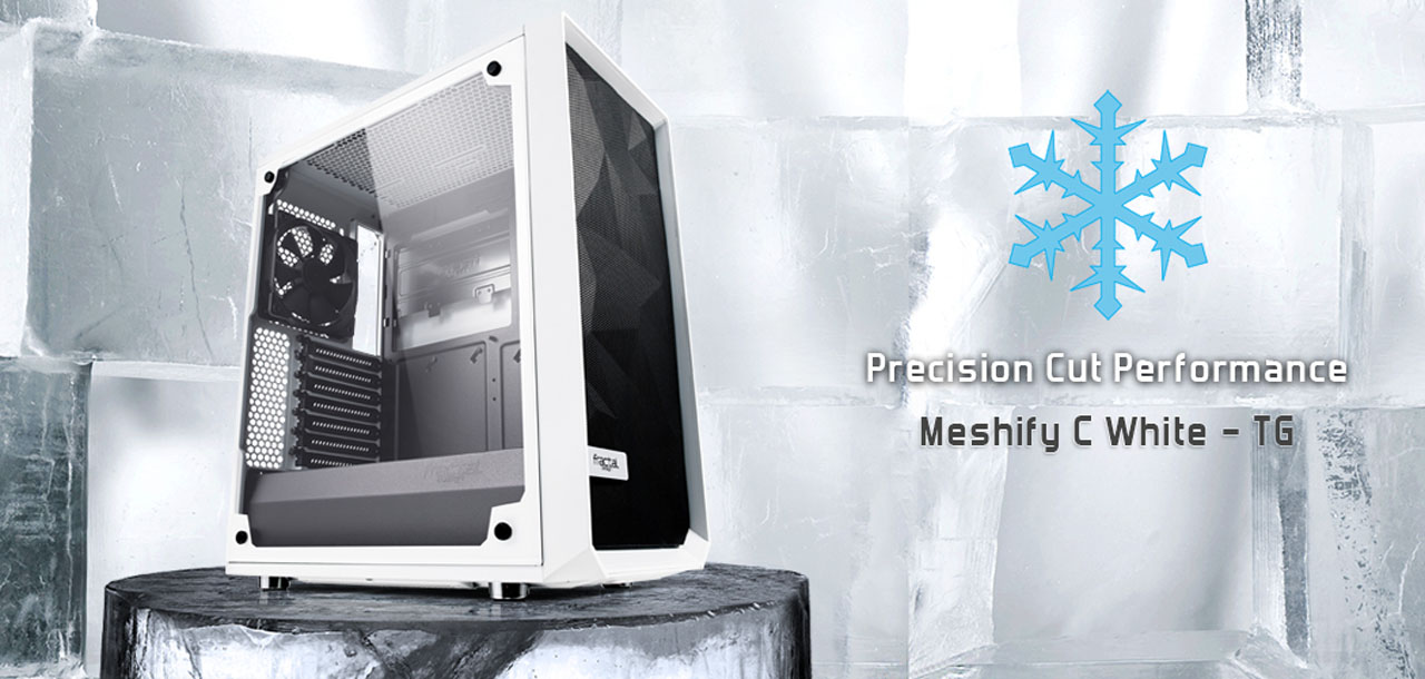 Side view of Meshify C White - TG placed in an icy environment with snowflake markers