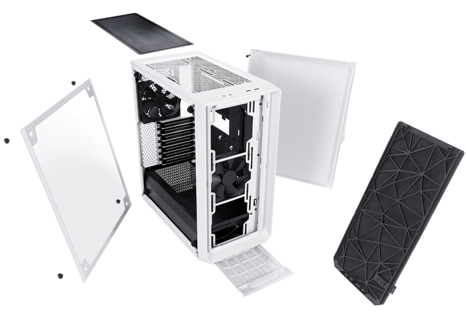 The front section of Meshify C, the top and bottom are disassembled