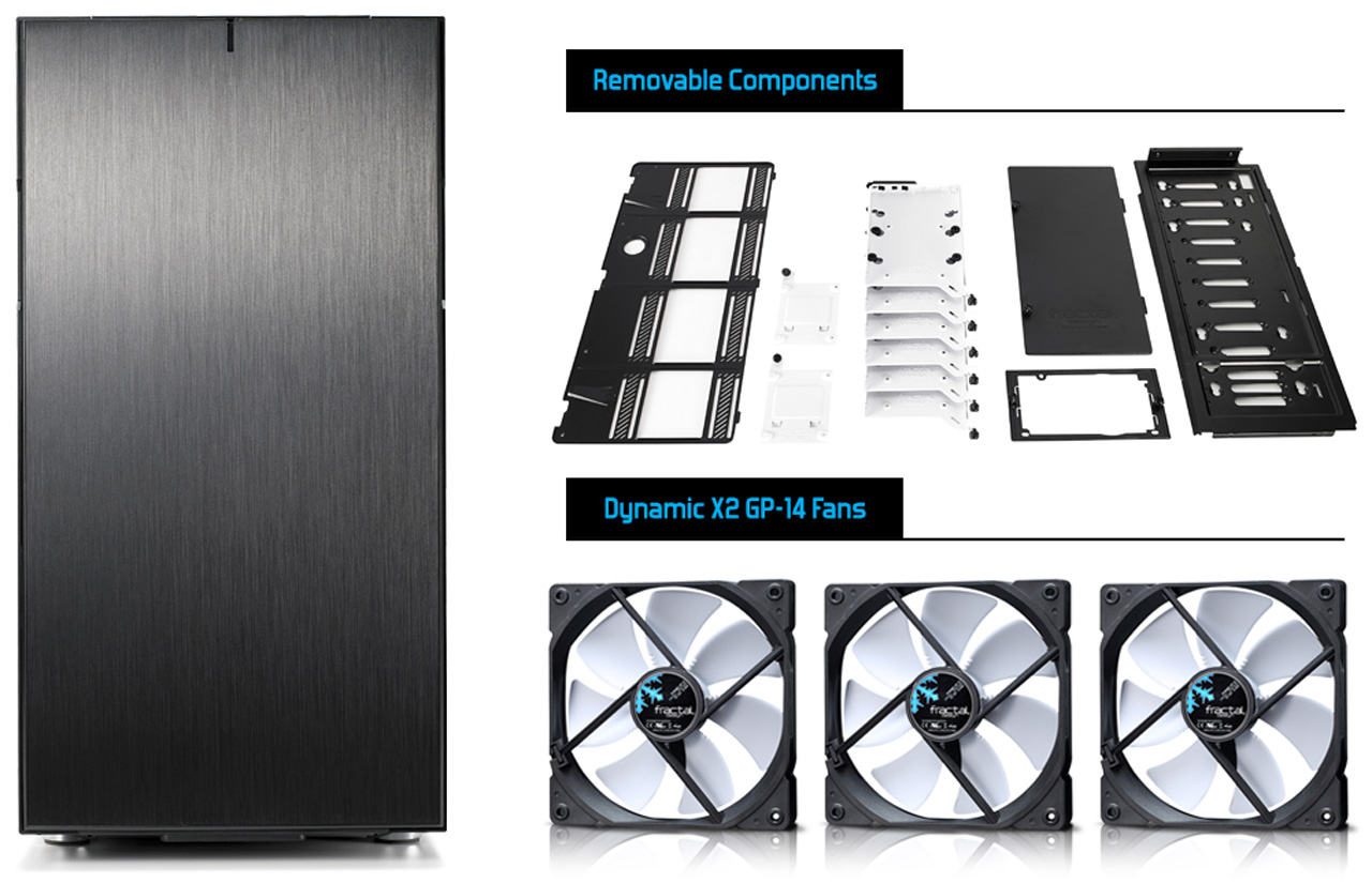 Define R6 front view and removable components and three dynamic X2 GP-14 fans