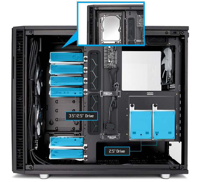 Define R6 includes six universal drive trays front view