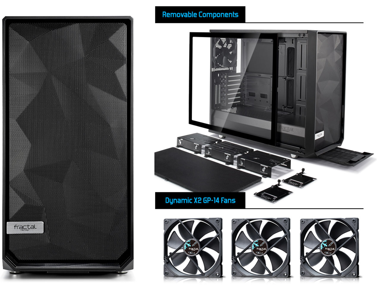 Meshify S2 Side view and disassembly diagram and three fans