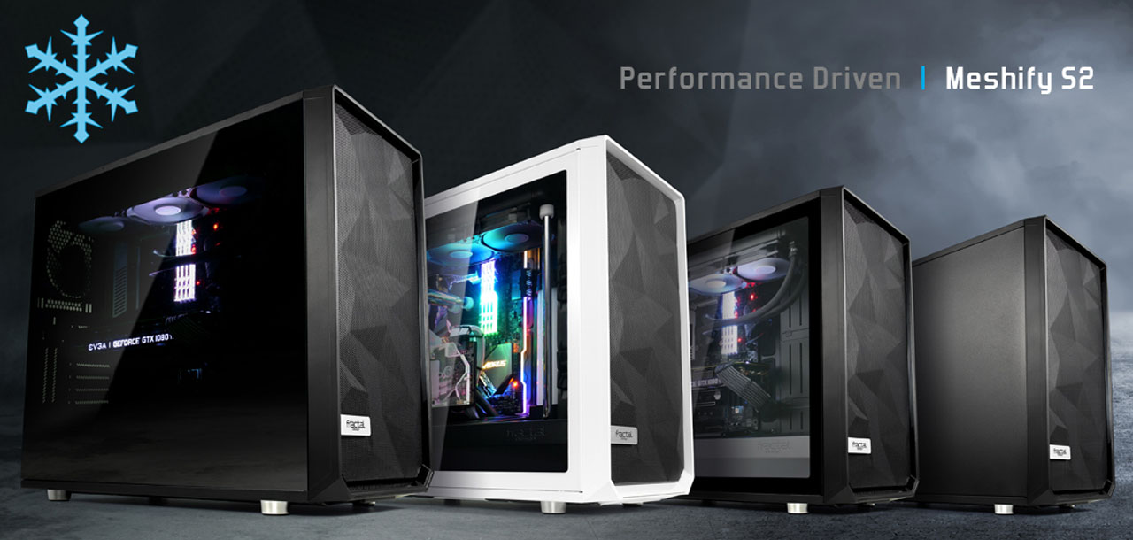 Fractal Design Meshify S2 Side view of four different colors