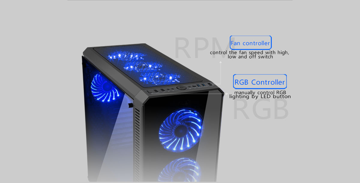DIYPC Vanguard-RGB Case Angled Down to the Right along with text and graphics indicating: Fan controller - control the fan speed with high, low and off switch - RGB Controller - manually control RGB lighting by LED button - RPM and RGB