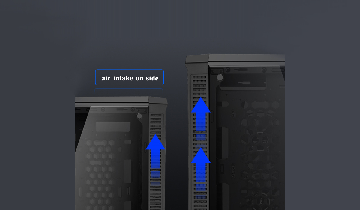 DIYPC Vanguard-RGB Case Facing Left and Right with blue arrows going the air intakes on the sides