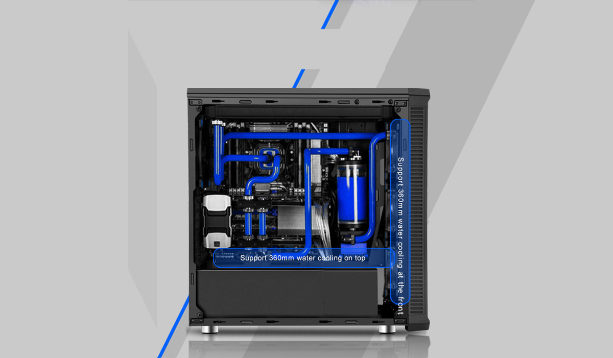 Fully loaded DIYPC Vanguard-RGB case with blue liquid cooling all throughout