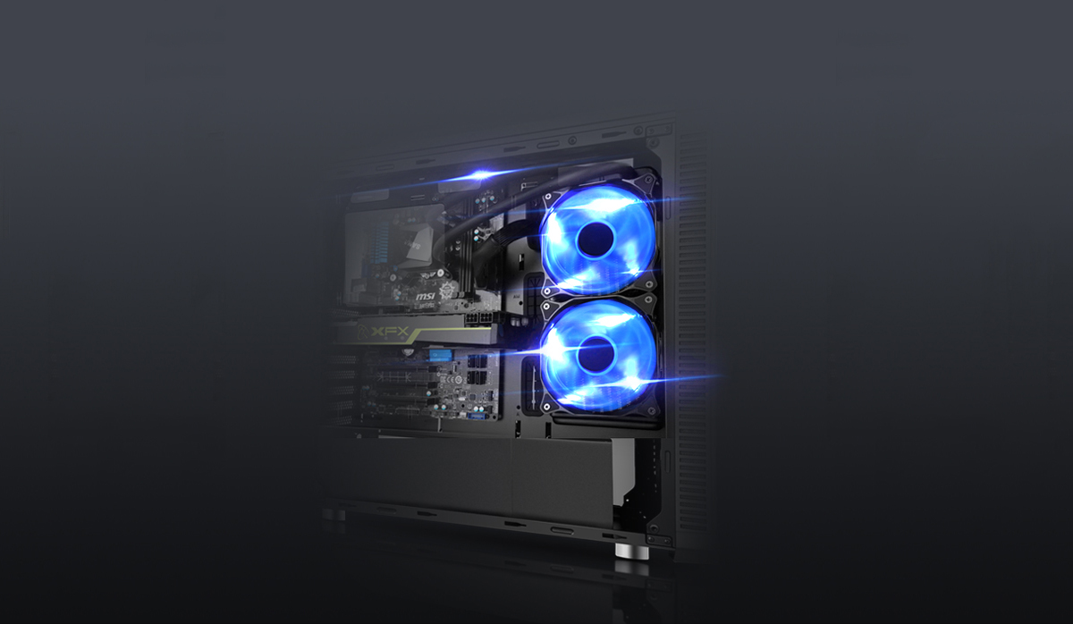 DIYPC Vanguard-RGB Case Fully loaded with two blue-lit fans