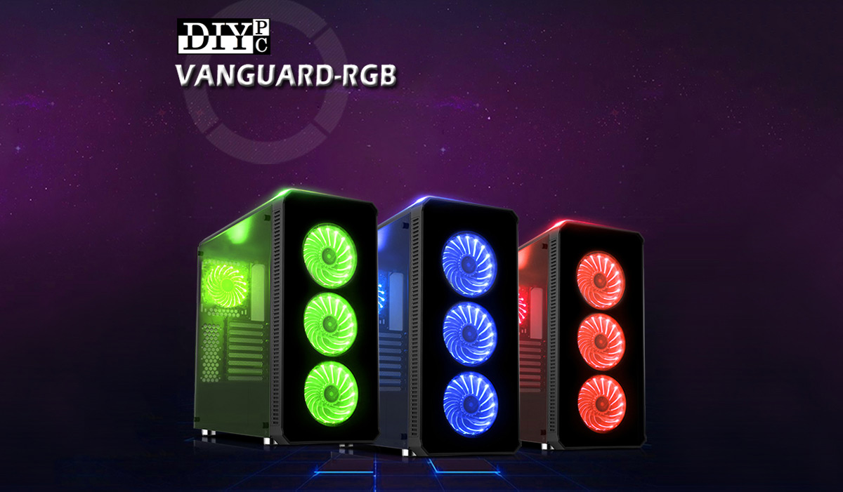DIYPC Logo above three VANGUARD-RGB CASES in green, blue and red lighting respectively