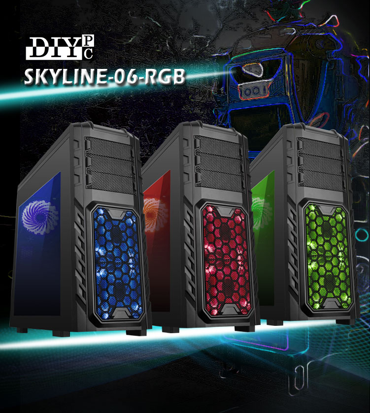 DIYPC SKYLINE-06-RGB banner showing three cases standing up facing to the right, with blue, red and green lighting respectively