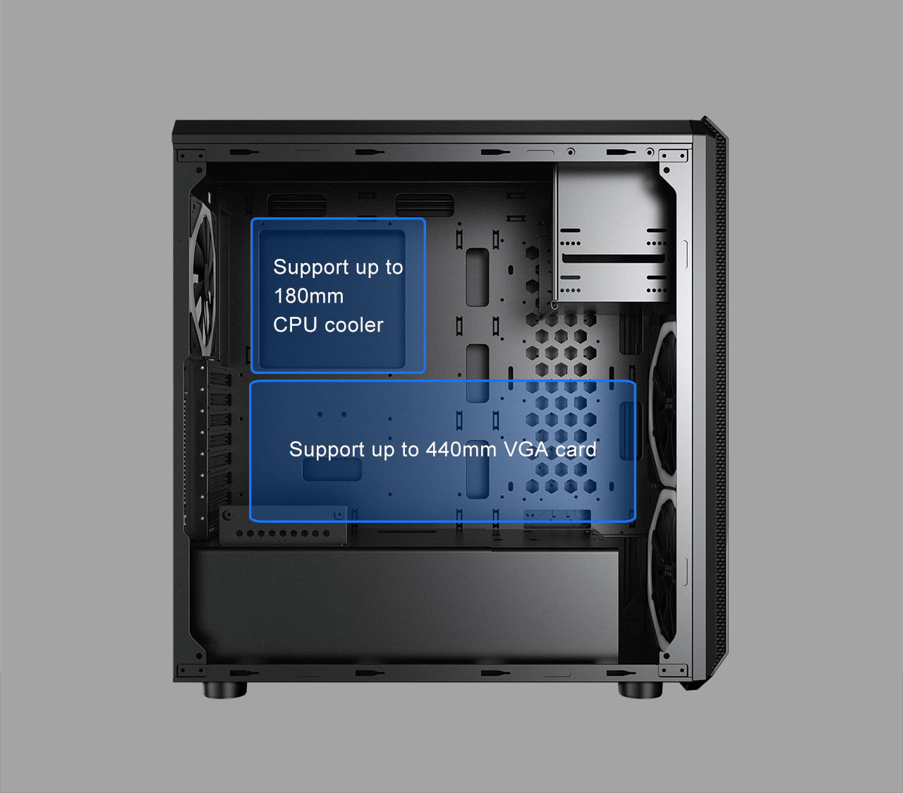 Case with its side panel removed with graphics and text indicating where the CPU cooler and graphics card can be installed