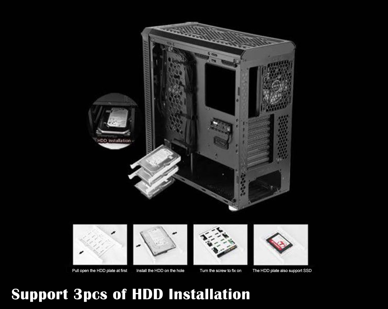 The case with its panels removed showing three separate HDDs in trays coming out of the case