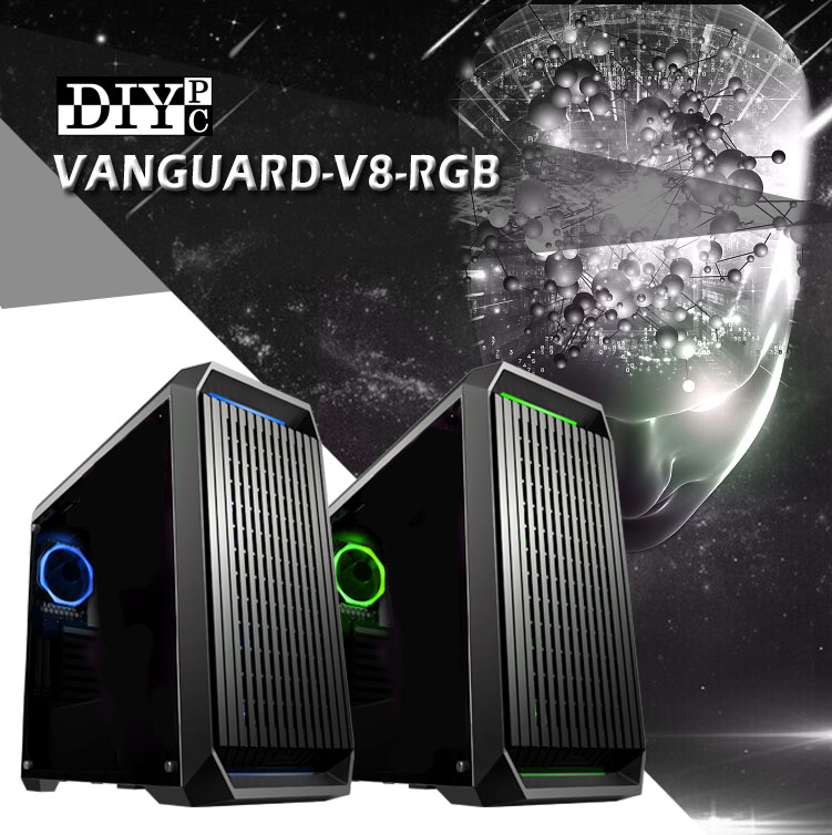 DIYPC Vanguard-V8-RGB Banner with two cases, one blue the other green with the graphic of a human head with molecules coming out of it