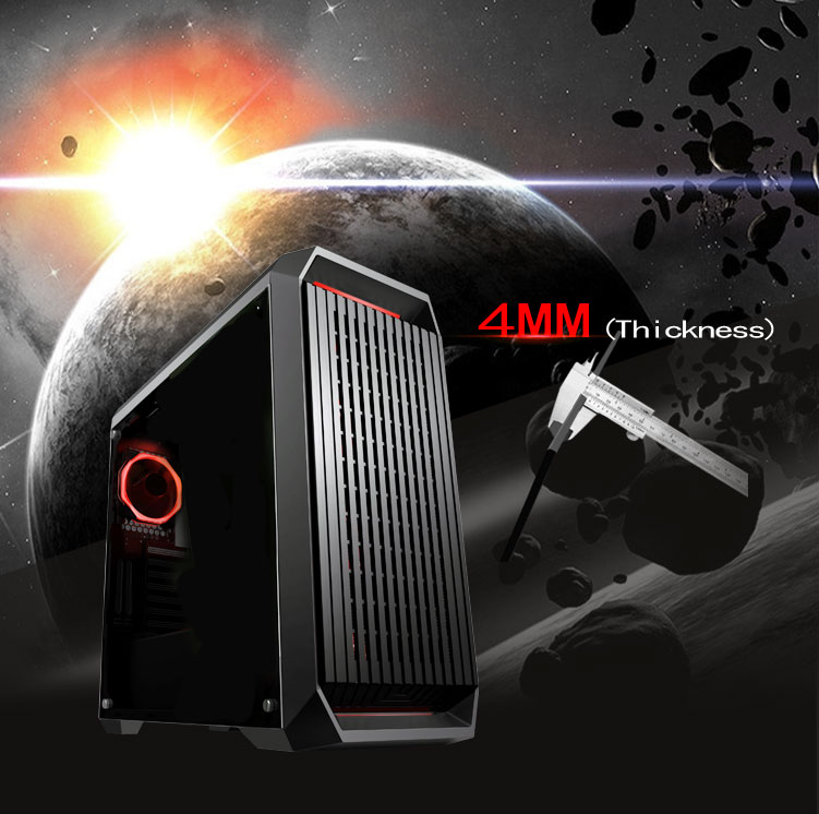 DIYPC Red Accent Case In Front of a Galactic Planetary Scene and the Text 4MM Thickness