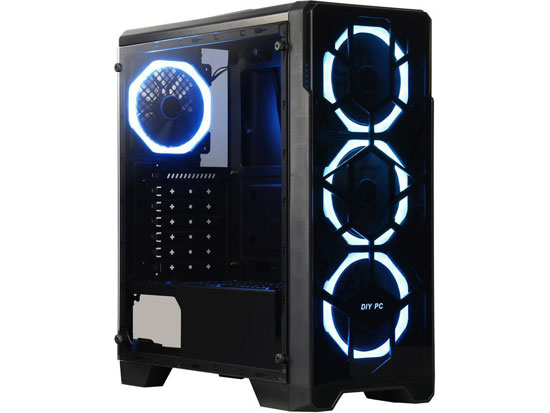 DIYPC Crystal-P3-RGB Black Dual USB3.0 Steel/ Tempered Glass ATX Mid Tower Gaming Computer Case