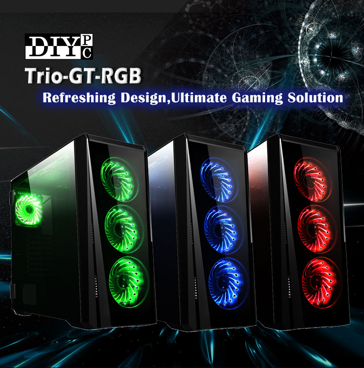 DIYPC Trio-GT-RGB Banner with three line up cases showing red, blue and green-lighted fans and text that reads: Refreshing Design, Ultimate Gaming Solution
