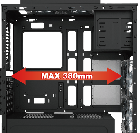 Closeup of the Titan 240 Case with its panels remove and a graphic arrow that reads: MAX 380mm