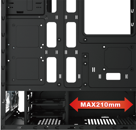 Side of the case with the panel removed and an arrow graphic where the power supply goes that reads: MAX 210mm