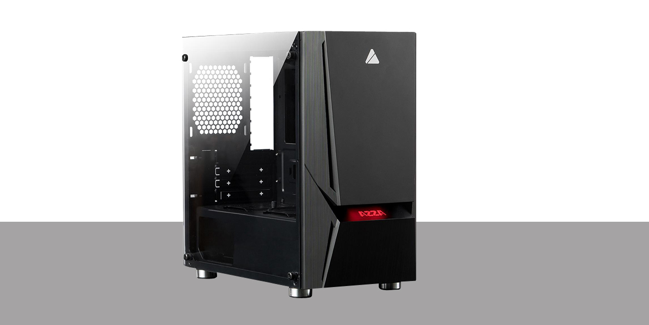 A desktop slightly tilted to the right show the front panel having red LED logo illuminationg and the transparent side window.