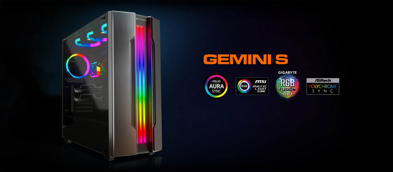 COUGAR Gemini S Iron-Gray Gaming Mid Tower Case with a Full-Sized ...