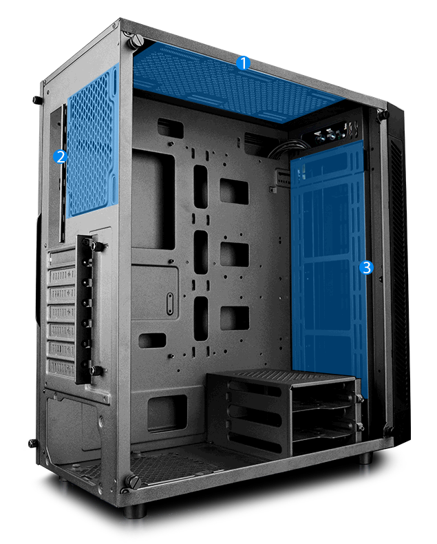 deepcool MATREXX 55 facing away to the right with blue graphics showing where fans can be installed in the front, top and rear of the case