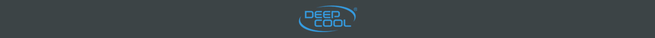 Blue deepcool on a dark gray logo