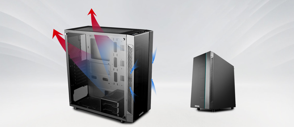 Two MATREXX 55 cases, one faces to the right with blue and red arrows indicating positive airflow. The case on the right is more in the background facing to the left