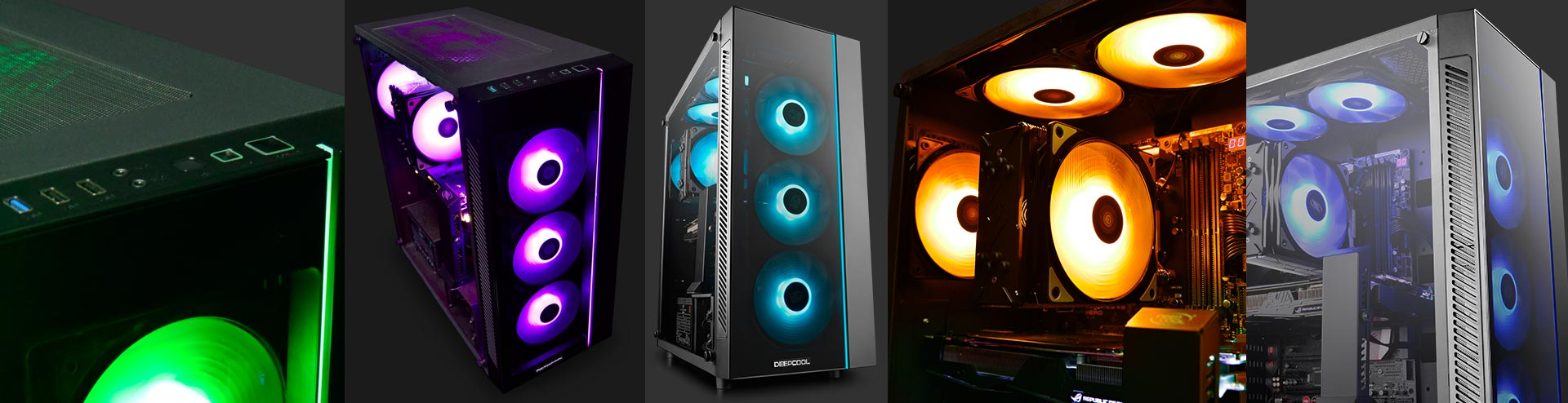 different shots and angles of the deepcool MATREXX 55 case with RGB-lit fans in green, purple, light blue, orange and teal