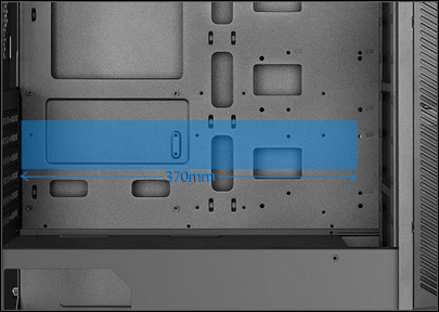 Blue graphic showing 370mm graphics-card length inside the case