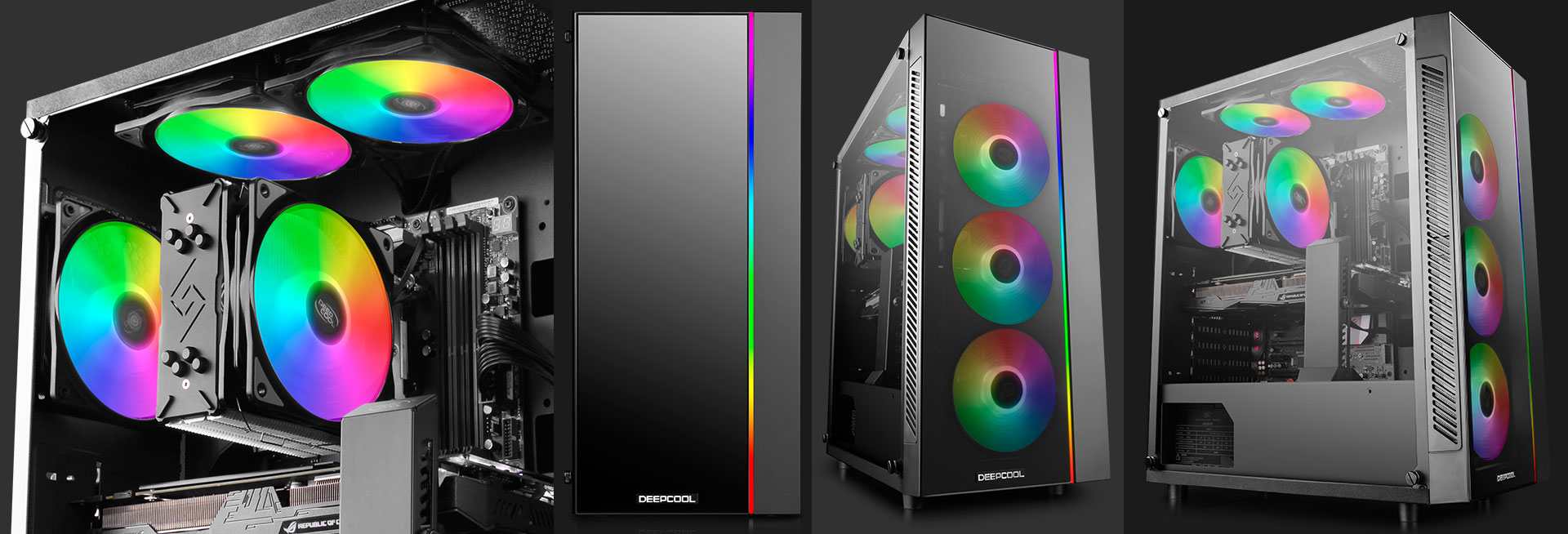 different shots and angles of the deepcool MATREXX 55 case with rainbow RGB-lit fans