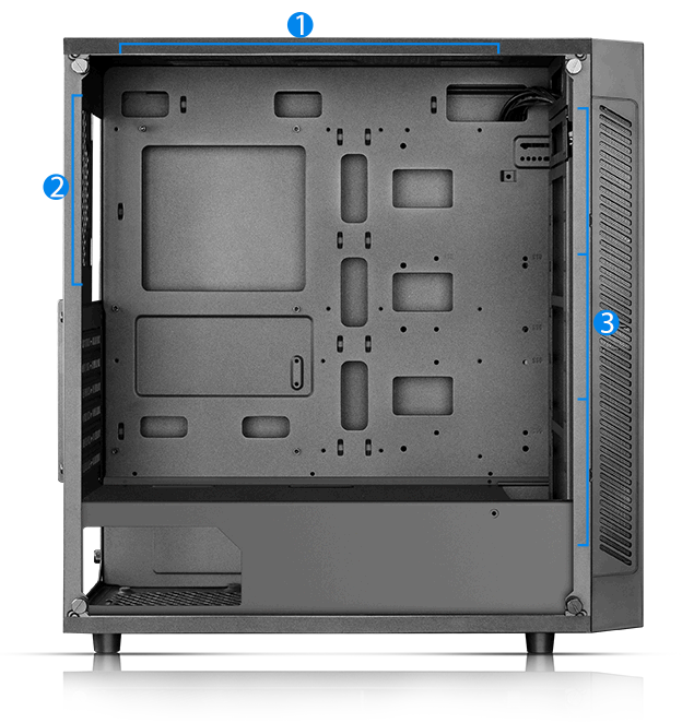 MATREXX 55 case facing tot he right with its side panel removed