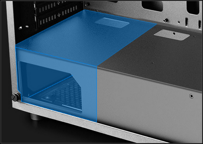 Transparent blue graphic showing where the power supply in the back bottom of the MATREXX 55 case