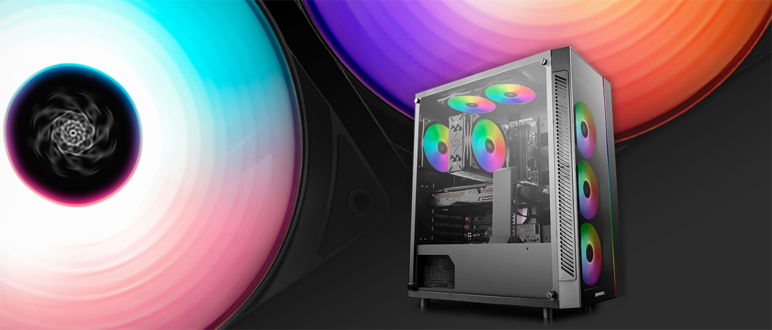 MATREXX 55 case facing slightly to the right with rainbow RGB-lit fans. The background image is a couple of spinning rainbow RGB fans